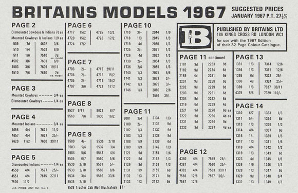 Britains Models prices January 1967