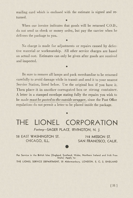 Lionel Instructions for Assembling and Operating 1936