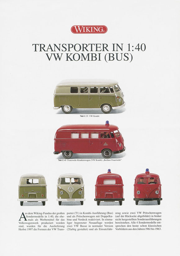 Wiking Produktblatt Transporter in 1:40 VW Kombi 1997